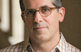 Jonathan Lethem photographed on the campus of Pomona College.