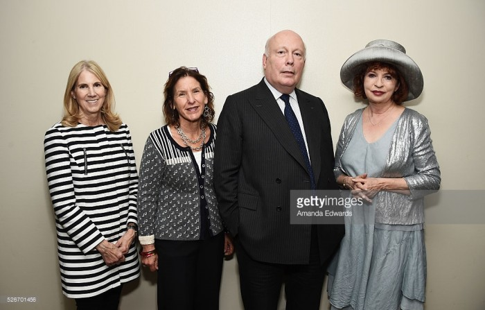 (L-R) LACMA Senior Vice President of Education and Public Programs Jane Burrell, Writers Bloc Founder Andrea Grossman and writers Julian Fellowes and Patt Morrison attend the LACMA and Writers Bloc presentation of Julian Fellowes In Conversation with Patt Morrison at the Bing Theatre at LACMA on April 30, 2016 in Los Angeles, California.